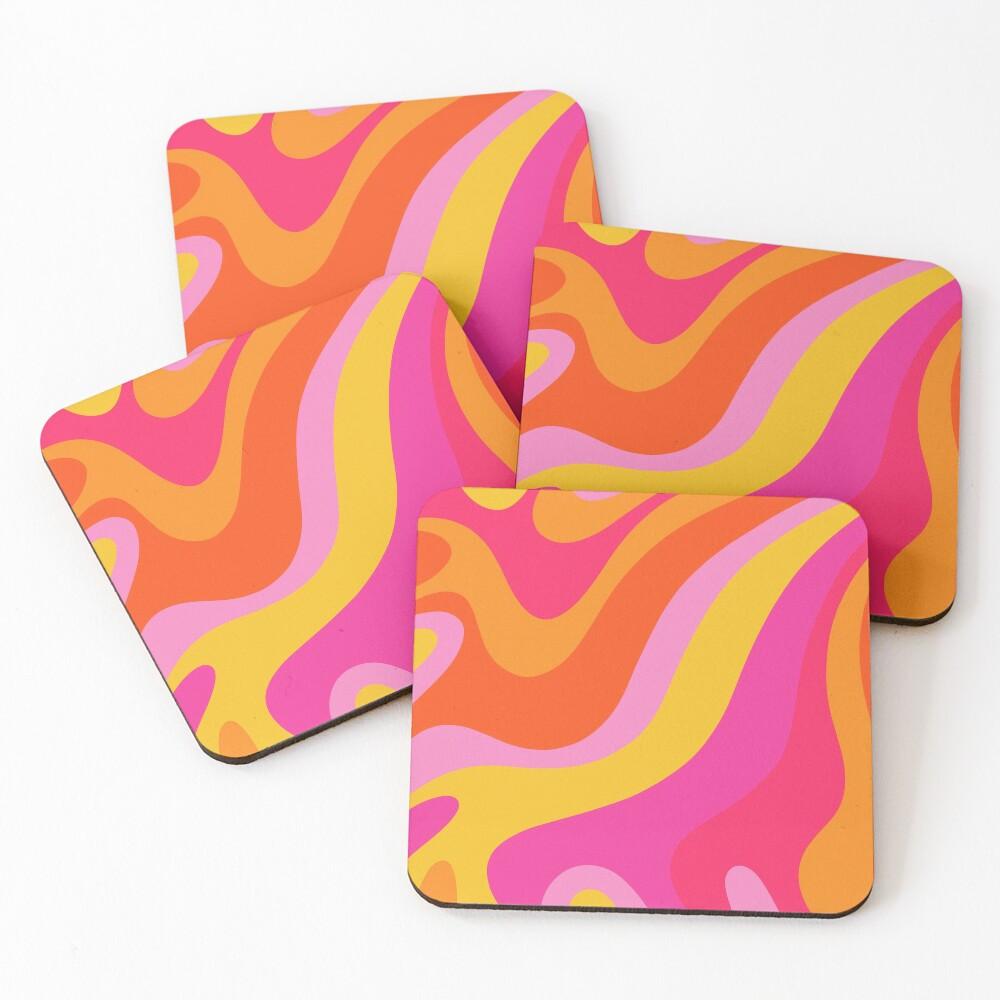 Retro 70s Pink and Orange Swirls  Coasters (Set of 4)