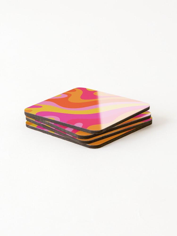 Alternate view of Retro 70s Pink and Orange Swirls  Coasters (Set of 4)