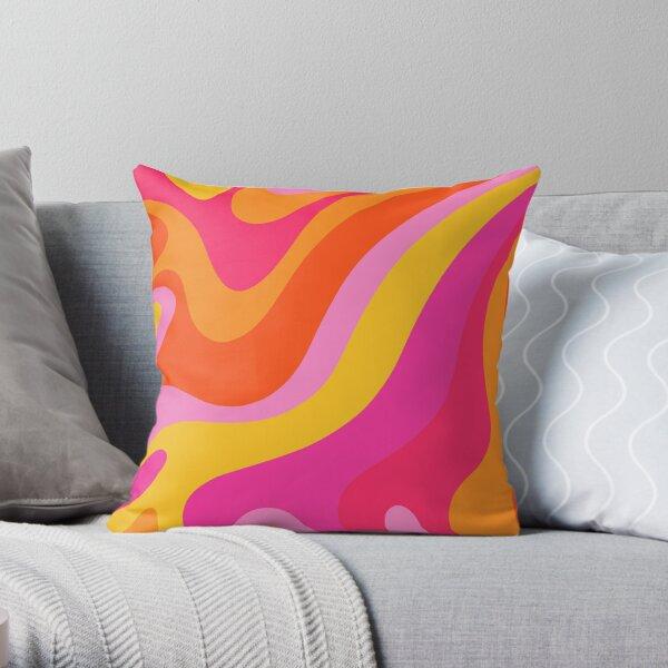 Retro 70s Pink and Orange Swirls  Throw Pillow