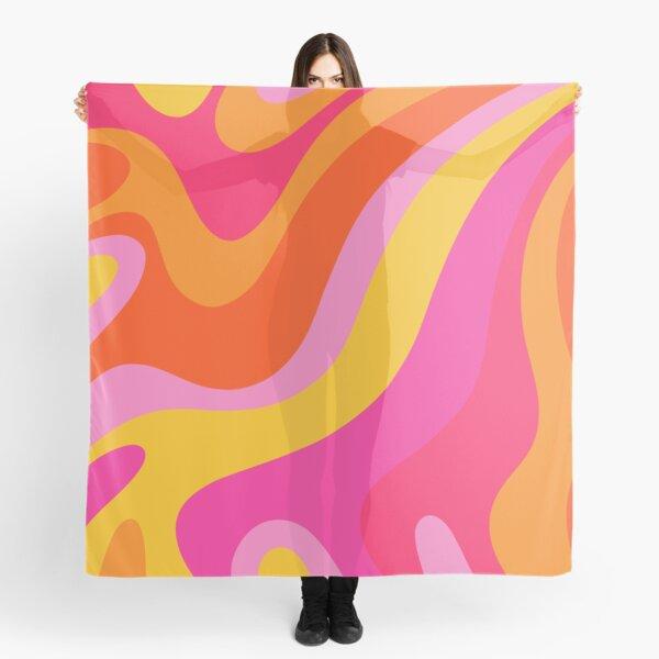 Retro 70s Pink and Orange Swirls  Scarf