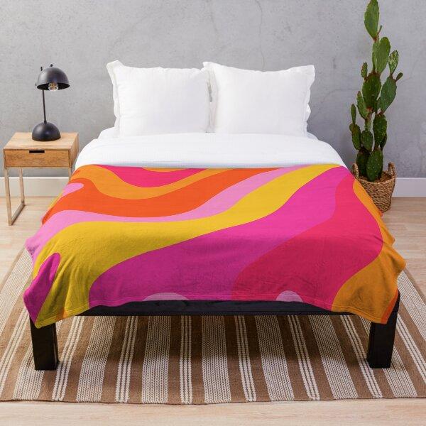 Retro 70s Pink and Orange Swirls  Throw Blanket
