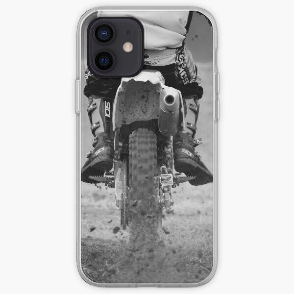 Moto x motocicleta pateando la tierra Funda blanda para iPhone