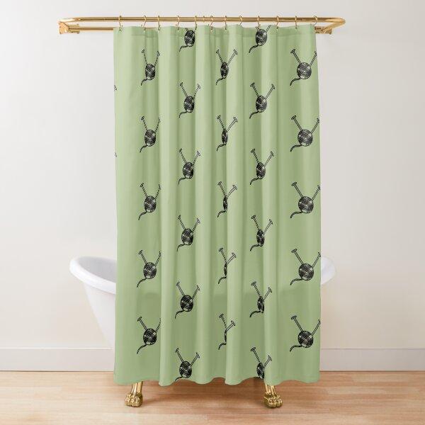 Cartoon yarn ball green print Shower Curtain
