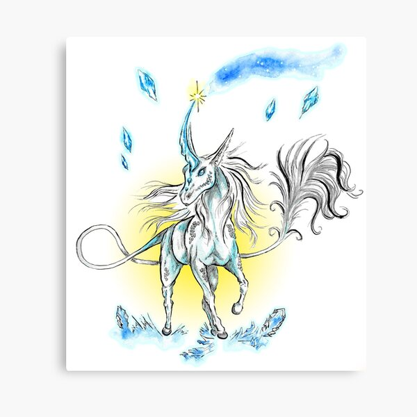 Blue qirin (unicorn) and cristals Canvas Print