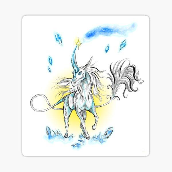 Blue qirin (unicorn) and cristals Sticker