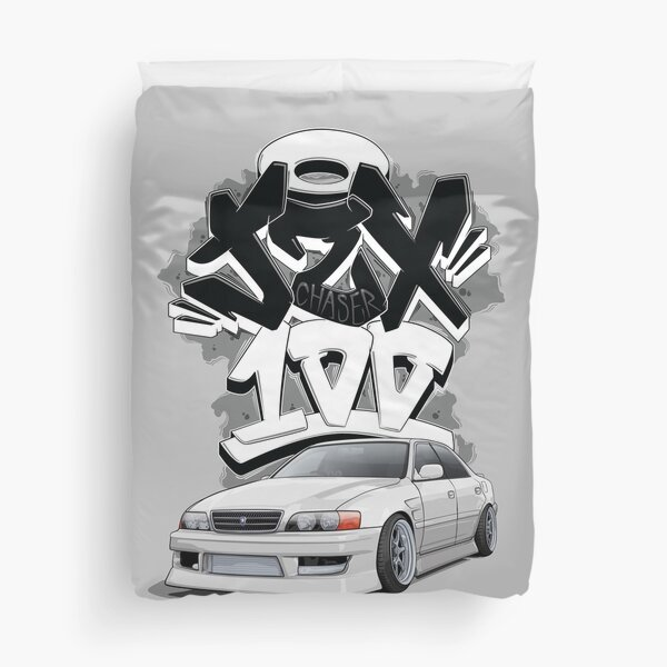 Chaser jzx100 (white) with graffiti background, Duvet Cover