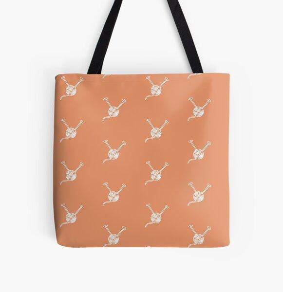 Cartoon yarn ball orange white  print All Over Print Tote Bag