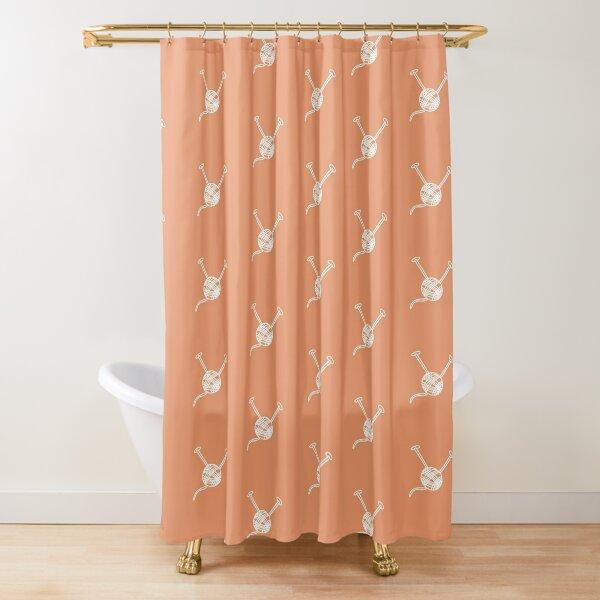 Cartoon yarn ball orange white  print Shower Curtain