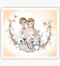 Beautiful Newlywed Bride and Groom On Horse Sticker