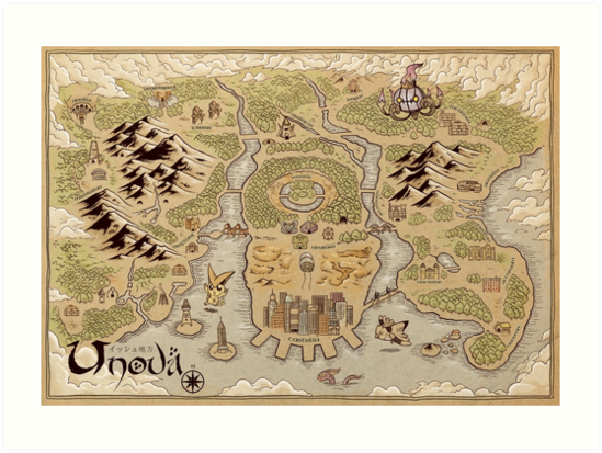 Unova Map Art Prints By Meleeninja Redbubble