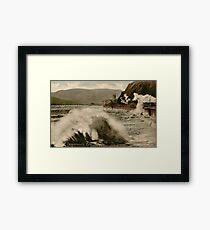 Vintage Teignmouth Devon seaside stormy weather train Framed Print