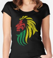 Lion Reggae Flag Colors  Women's Fitted Scoop T-Shirt
