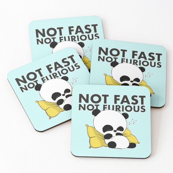 Not Fast Not Furious : Panda Coasters (Set of 4)
