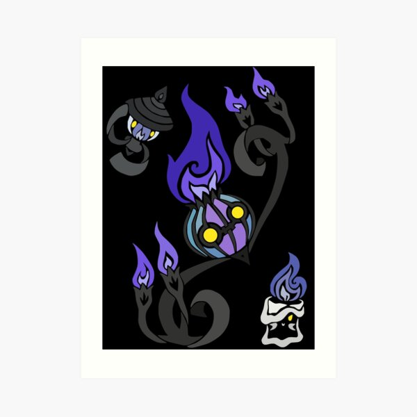 Flames of the Forgotten - Chandelure, Lampent and Litwick Art Print