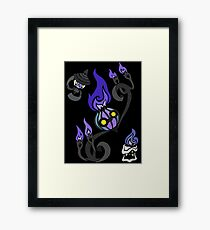 Flames of the Forgotten - Chandelure, Lampent and Litwick Framed Print