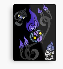 Flames of the Forgotten - Chandelure, Lampent and Litwick Metal Print