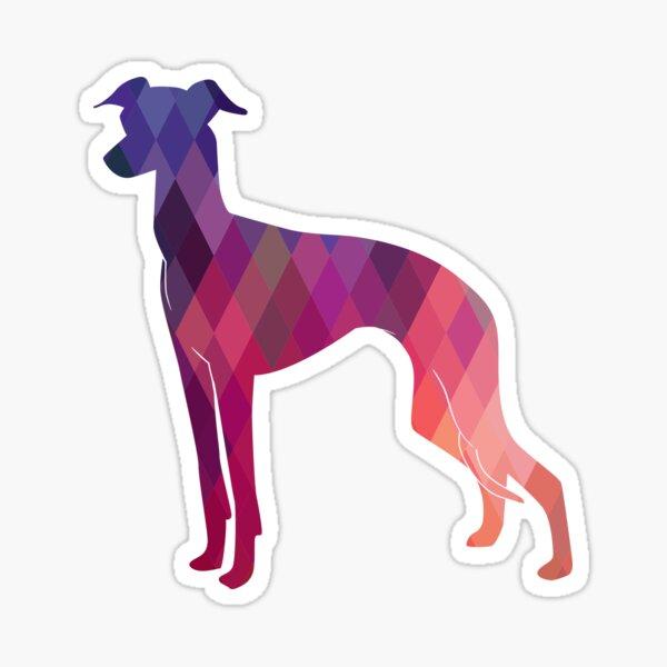 Italian Greyhound - Iggy - Geometric Pattern Silhouette Pink Sticker