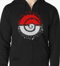 Splattered Tribalish Pokeball! Zipped Hoodie
