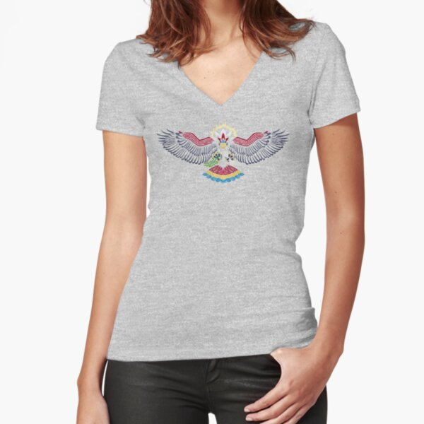 Colored Tribalish Braviary - The All-American Bird Fitted V-Neck T-Shirt