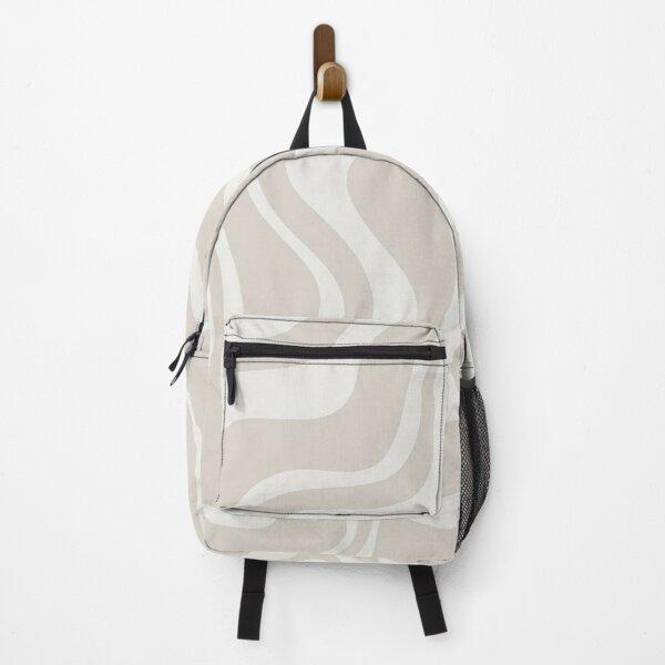 Liquid Swirl Contemporary Abstract Pattern in Mushroom Cream Backpack