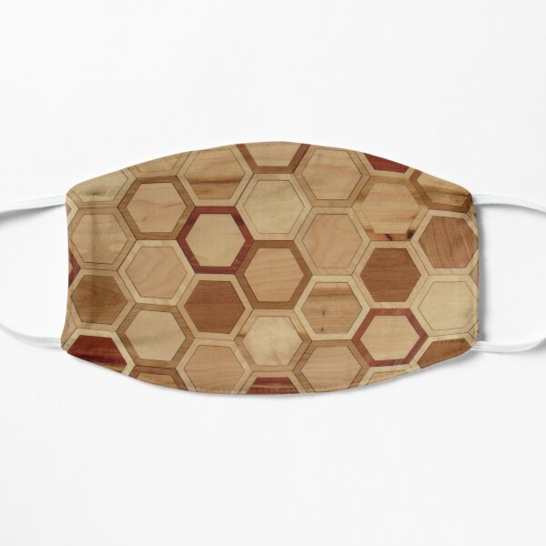 Hexagons in Natural Woods Flat Mask