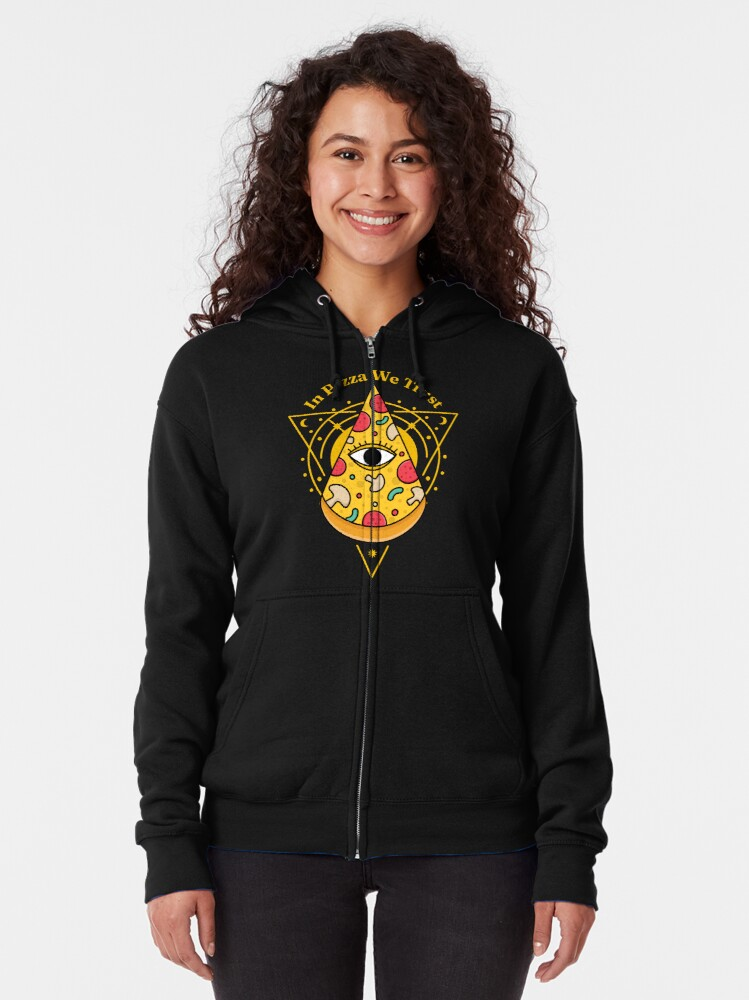 Alternate view of Pizzaminati In Pizza We Trust - T-Shirt for Pizza Lovers with Conspiracy Theories Seasoning Zipped Hoodie