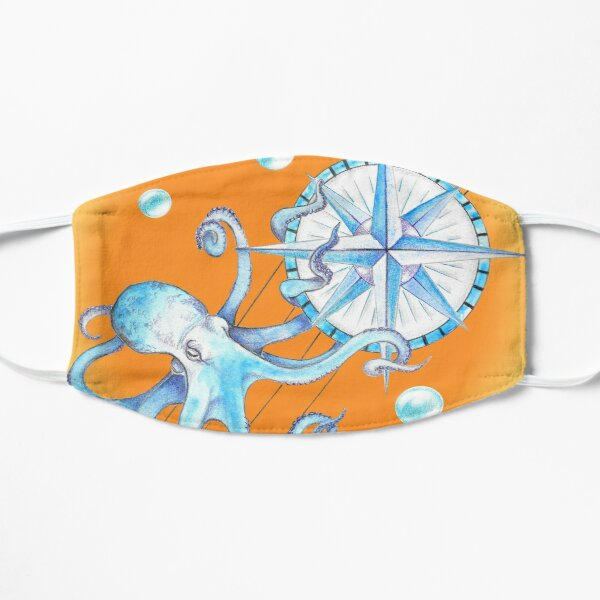 Blue octopus and Wind rose Flat Mask