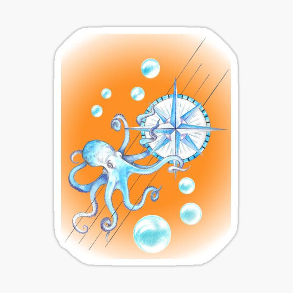 Blue octopus and Wind rose Sticker