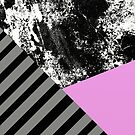 Mix Up - Abstract Black and White, block pink, balck and grey stripes by Printpix