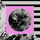 Stripes In Space - Abstract Geometric Painting in Pink, Black and white by Printpix