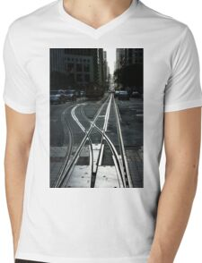 San Francisco Silver Cable Car Tracks Mens V-Neck T-Shirt