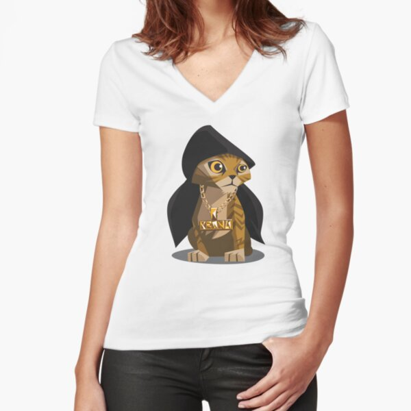 Cute Gangster Kitty Fitted V-Neck T-Shirt