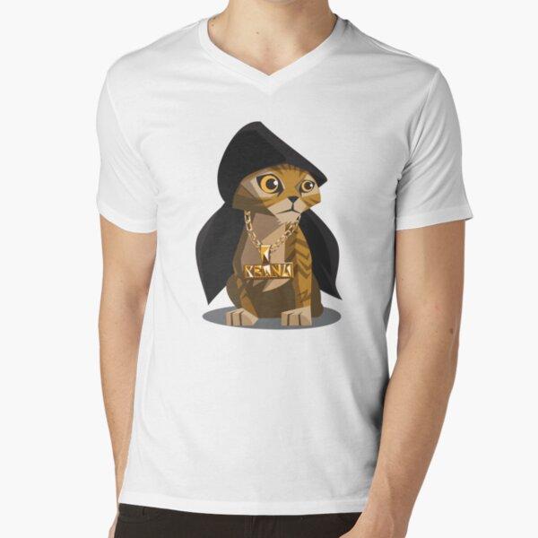 Cute Gangster Kitty V-Neck T-Shirt