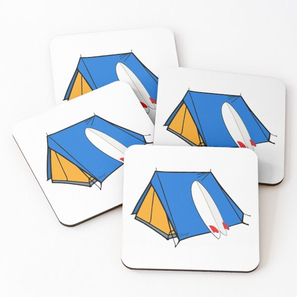Surfing camp design Coasters (Set of 4)