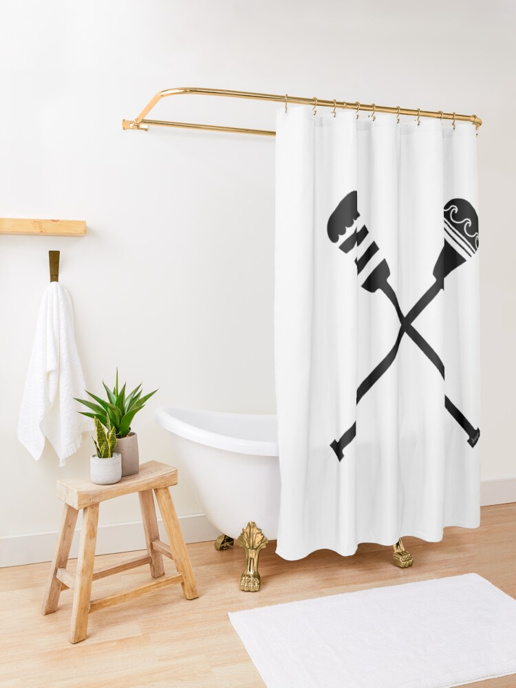 Alternate view of Rowing design Shower Curtain