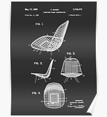 Eames DKR Iconic Mid Century Chair Furniture Patent Drawing Design Poster