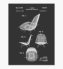 Eames DKR Iconic Mid Century Chair Furniture Patent Drawing Design Photographic Print