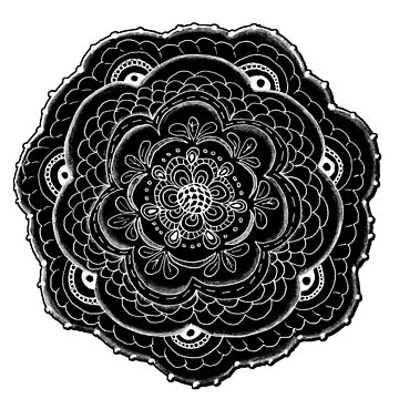Black and White Abstract Lace Flower by Quidama