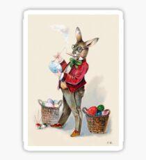 Victorian-Era Easter Rabbit Painting Eggs Sticker
