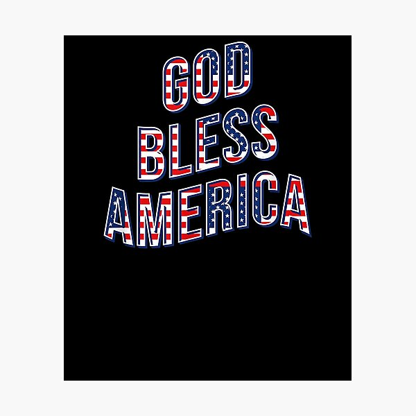 God Bless America Flag Typography Retro Curved Gift Idea  Photographic Print