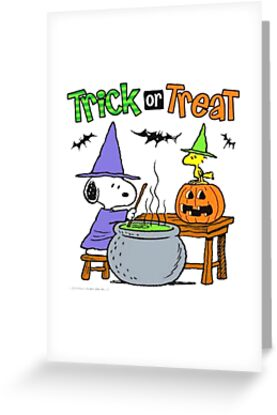 Snoopy trick or treat greeting cards by jakunbeth redbubble snoopy trick or treat by jakunbeth m4hsunfo