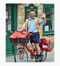 Cheeky, Happy Postie at work in Sherbourne Photographic Print