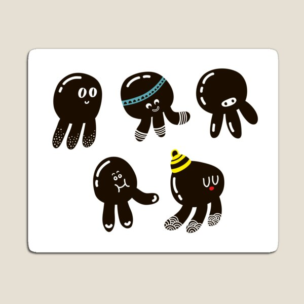 Black cute octopuses Magnet