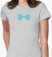 Turquoise Pastel Bow Womens Fitted T-Shirt