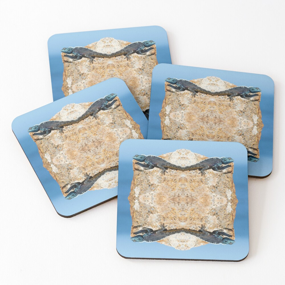 4 Lizards On A Floating Rock Coasters (Set of 4)