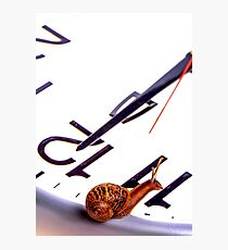 Snail sitting on clock face at 12 ocklock Photographic Print