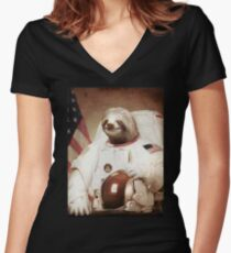 Spaceman Sloth Astronaut Women's Fitted V-Neck T-Shirt