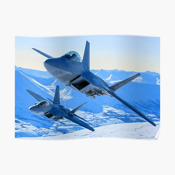 Two F22 Raptors flying in winter Poster