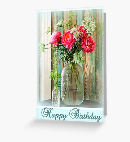 Happy Birthday Peonies Greeting Card
