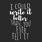 Ich könnte es besser schreiben, als du es jemals gefühlt hast von rifato